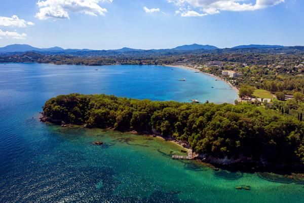 Dassia beach close to villa eden